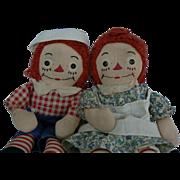 Georgene Raggedy Ann and Andy dolls De Semone Tag on Body.