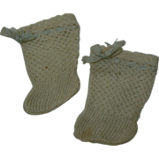 Old French or German doll socks white with blue trim.