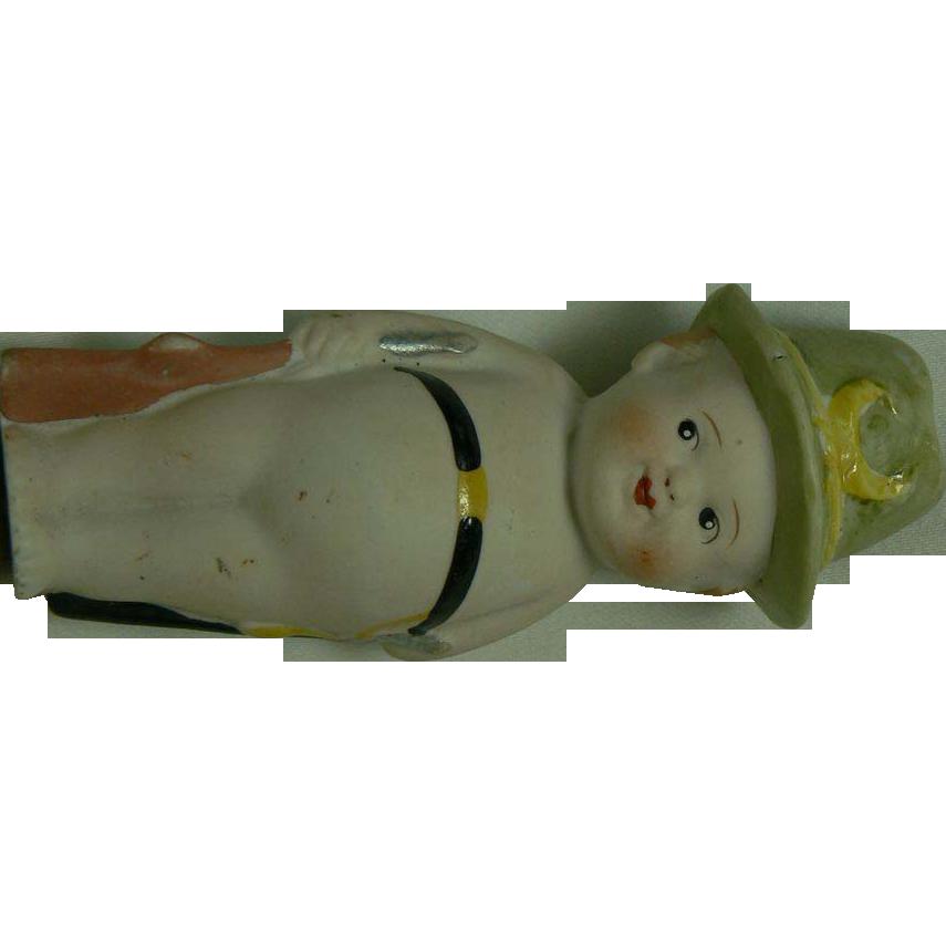 OLD Bisque Boy doll figurine sweet.