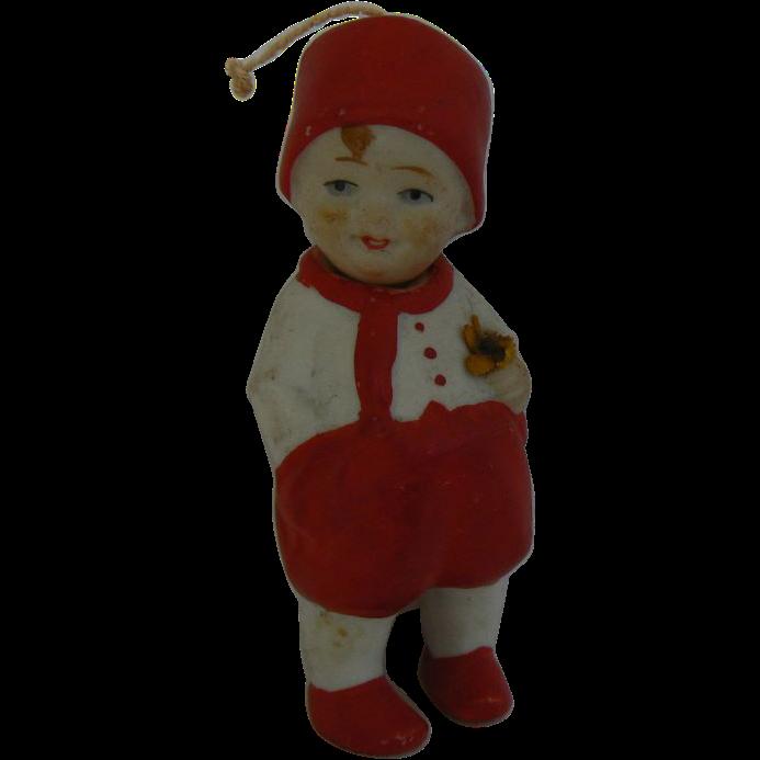 German Bisque Nodder Boy on Red CUTE LooK !!!!!!!