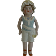 Early all bisque doll Dressed for the Beach, Sweet.