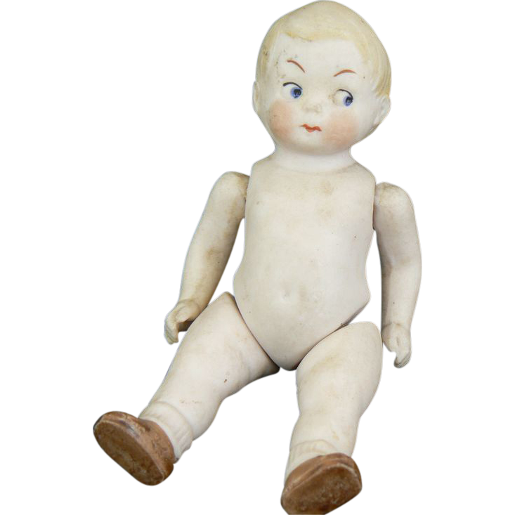 German All Bisque Googly Eye Doll Jointed arms and hips Cute.