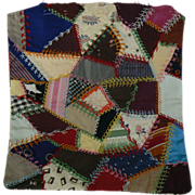 OLD vintage doll crazy quilt cute.