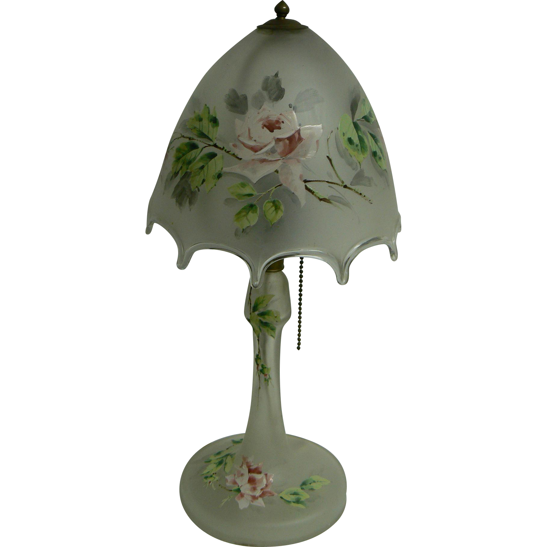 Vintage OLD Glass table Lamp with Hand painted rose flowers on it, French.