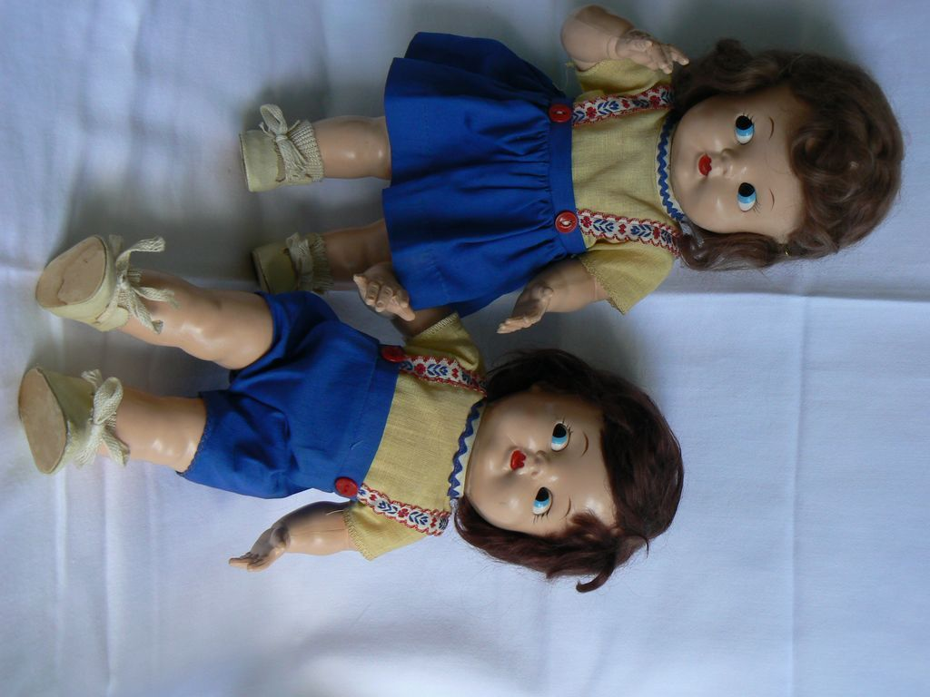 Vintage Hard Plastic Ideal Googly eye Baby Toddler dolls PAIR LooK !