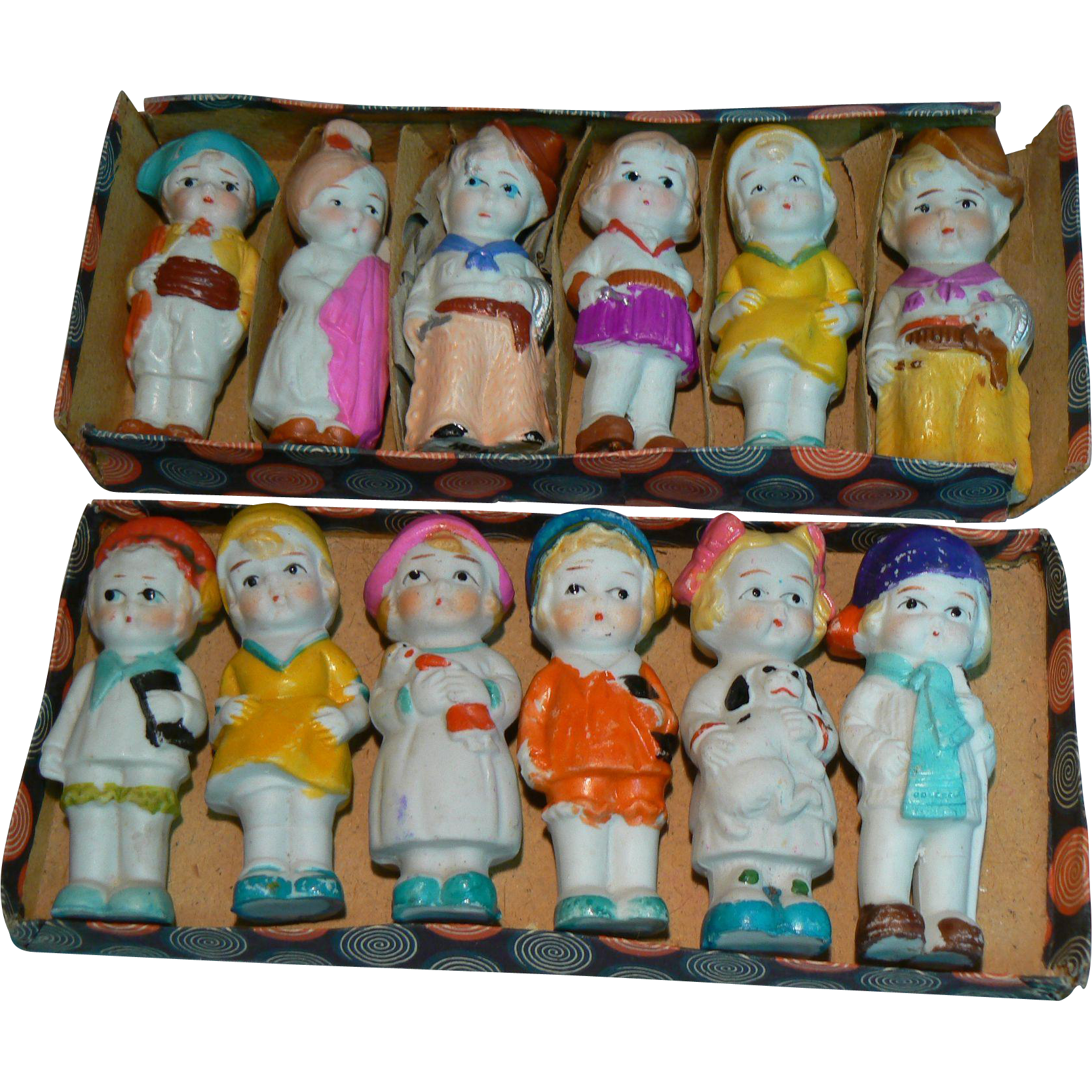 2 Sets little Bisque Dolls  12 total with 1 Original box Near MINT sweet.
