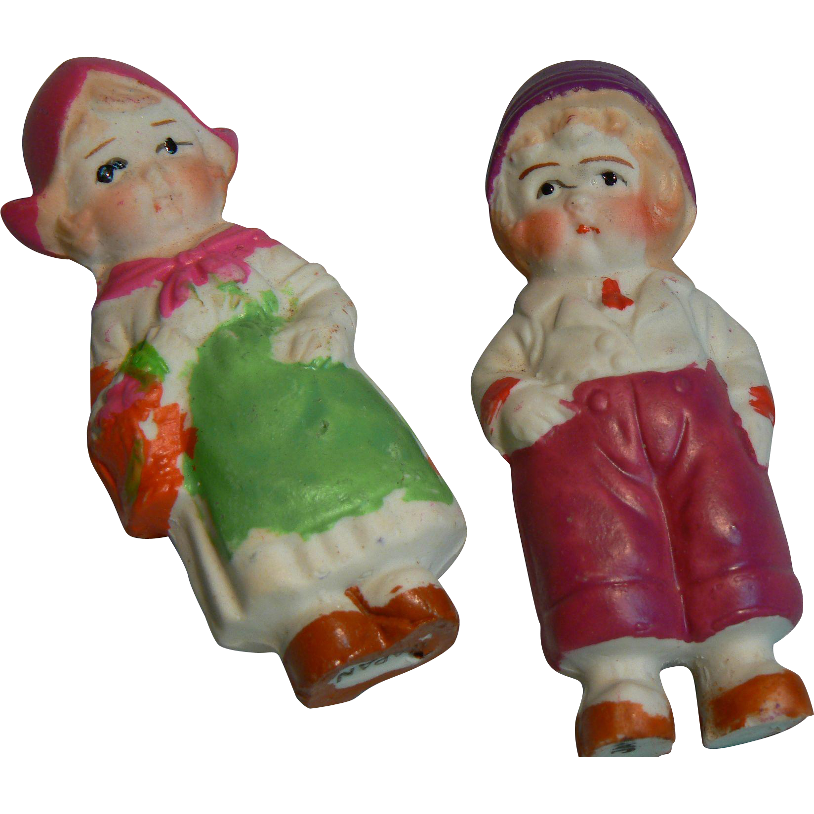 Vintage Japan Painted Bisque Dutch Boy and Girl Pair.