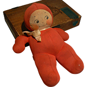 Vintage 8 inch Cloth Kewpie doll Richard G. Krueger New York Red and cute 1930's