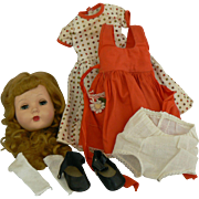 Vintage 50's Effanbee Honey Head, dress, shoes and socks Great for Parts or fixer upper.