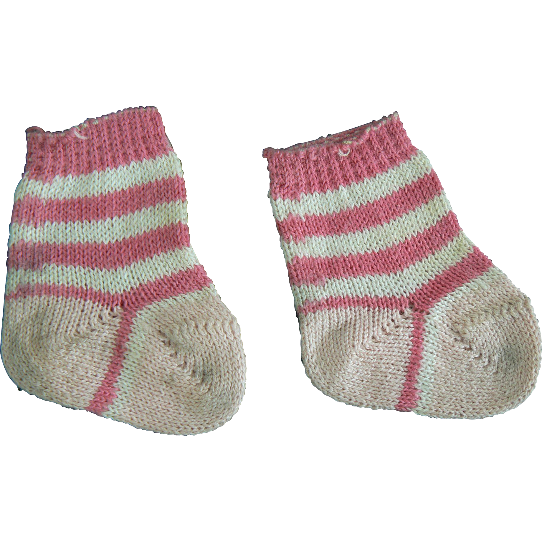 Vintage Pink and White Baby doll socks 40 s 50 s era Antiques