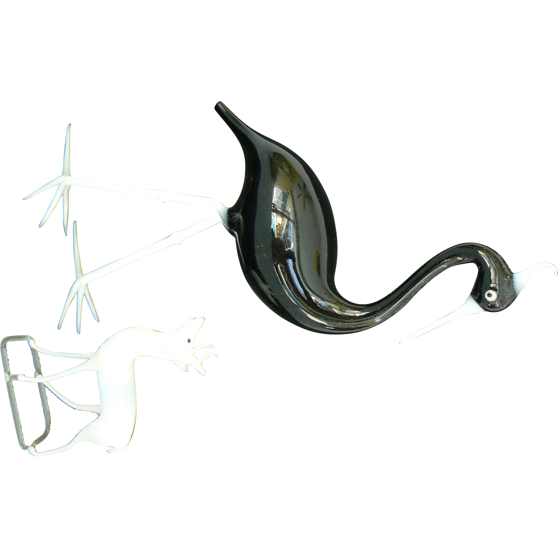Early German blown glass stork and deer to use with your dolls
