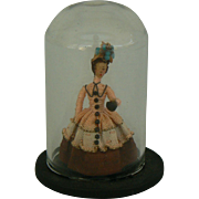 Vintage Elaine Cannon mini doll under glass dome 40's - 50's era.