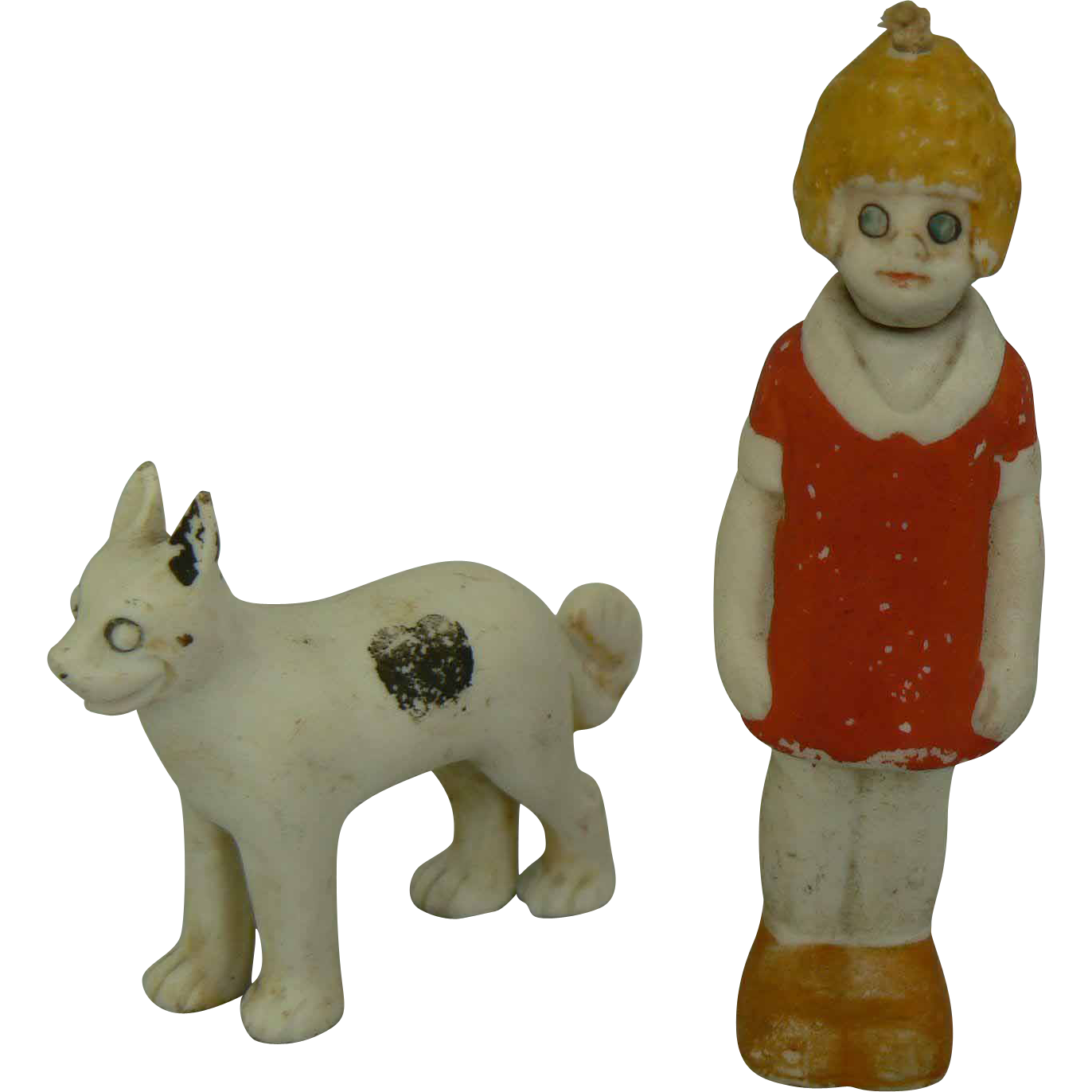 German Bisque Little Orphan Annie Nodder with Sandy her dog.