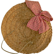 OLD vintage straw doll hat with original ribbon