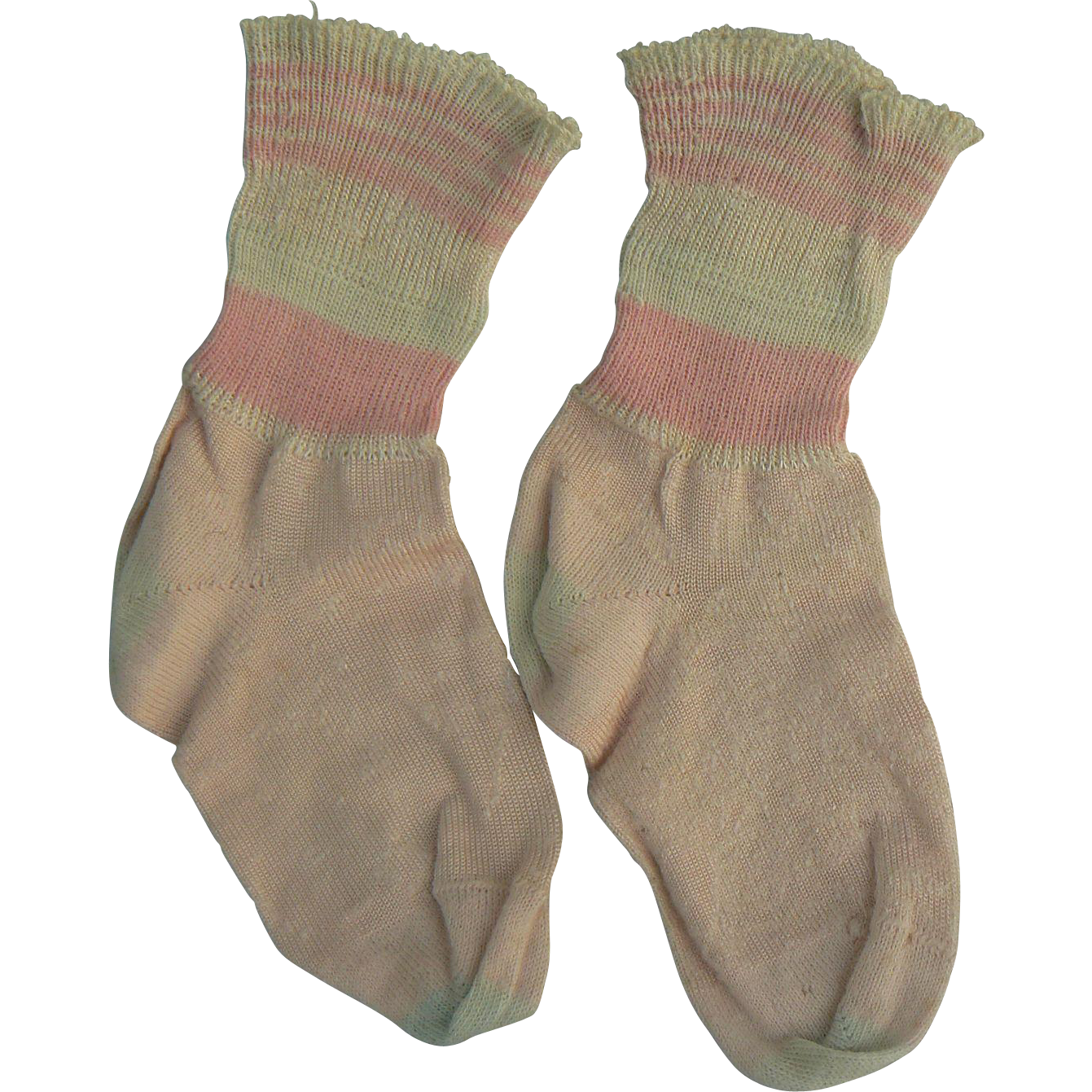 Vintage Pink and White doll socks