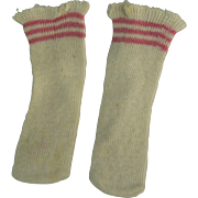Vintage doll socks, white with pink at the tops