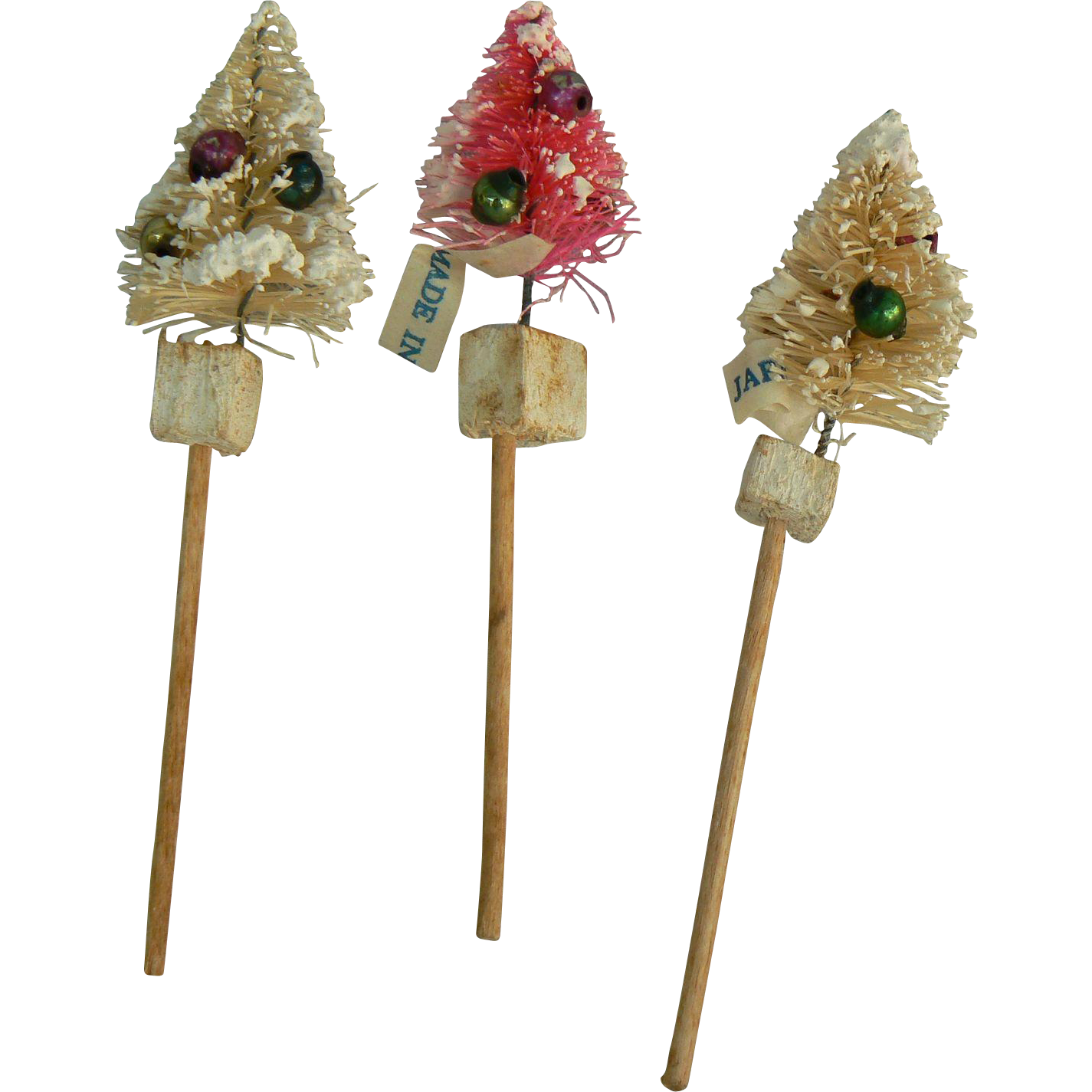 Vintage Bottle brush Christmas Tree Picks, tiny great for doll house
