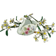 Old Swan planter with Glass beaded flowers, great for your doll.