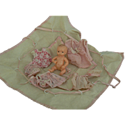 Darling outfits and carry bag for a bisque baby doll, must see.
