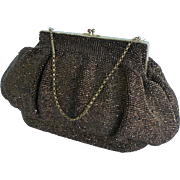 Great vintage Beaded Purse Gold copper color beads with chain handle OLD.