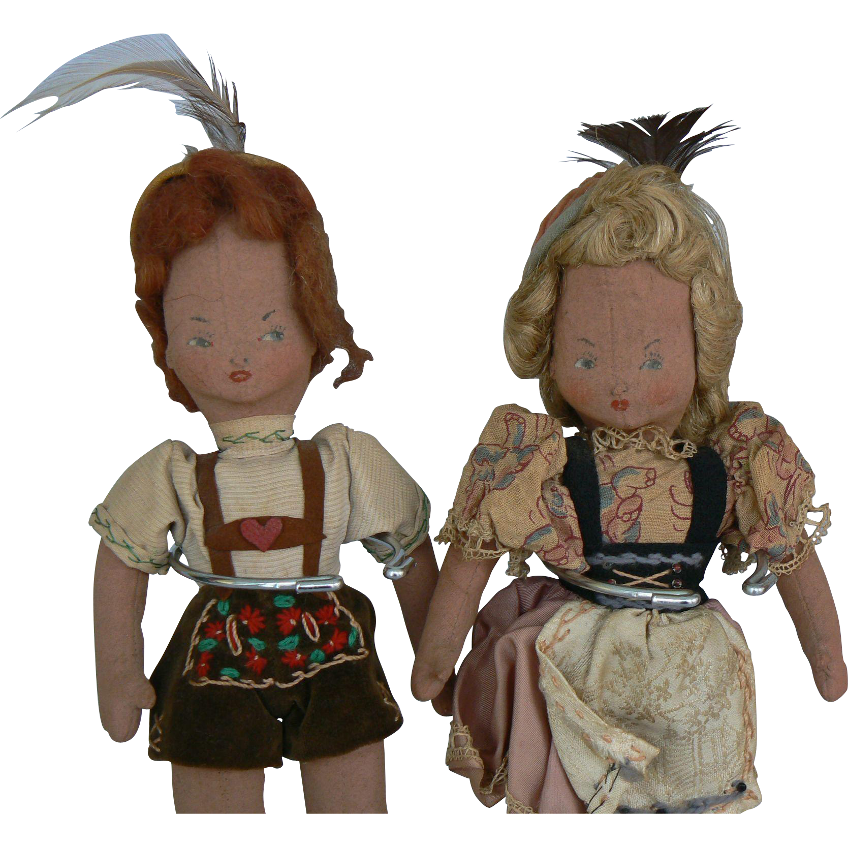 Vintage 1940's Swiss Boy and Girl Doll all original and very sweet.