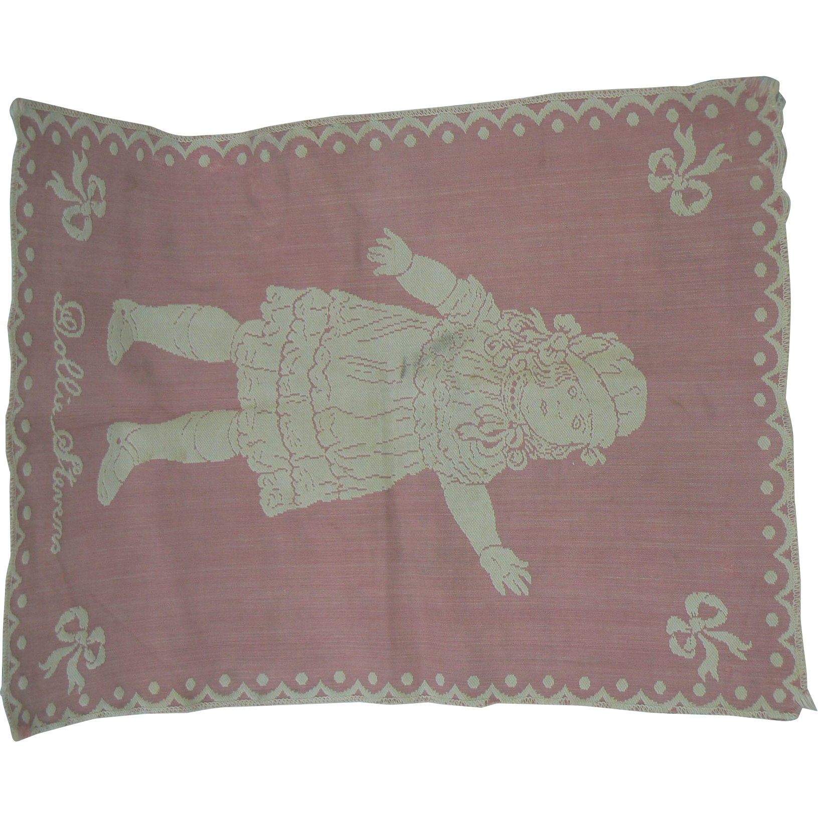 Dollie Stevens Pink and White Doll Blanket OLd and sweet.