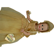 Effanbee Honey doll 14 inches tall, vintage 50's hard plastic all original with paper wrist tag