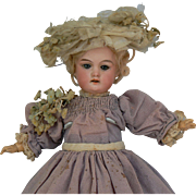 Factory Original from hat to shoes A.M. Florodora doll sold for parts or fixer upper, 13 1/2 inches tall fully jointed compo body.