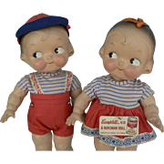 Vintage Horsman Campbells Kids composition Dolls, pair Boy and Girl all original and tagged.