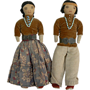 Vintage OLD Native American Indian dolls, Pair Man and Woman all original.