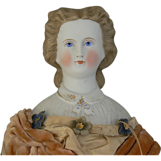 Antique Parian Head doll all original and 17 inches tall.