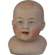 HTF or Rare German Bisque Baby Boy Doll Head CUTE as a button.