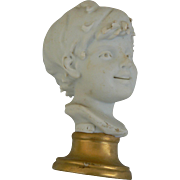 Vintage old Bisque Boy Bust great for a dollhouse or doll