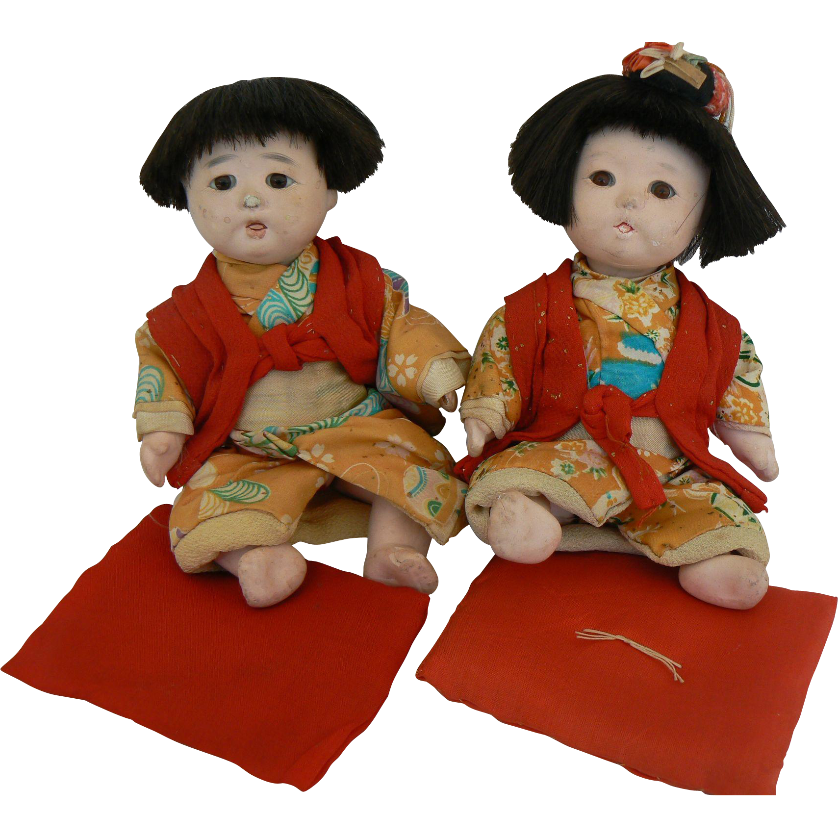Vintage Pair of Japanese Boy and Girl dolls all original