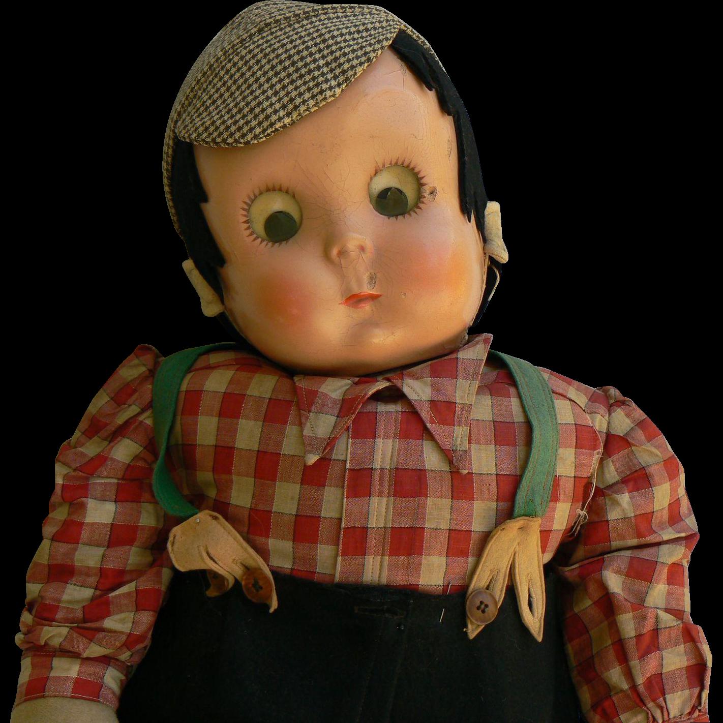 Rare Lenci Mask Face Disc eyes boy doll well loved 1930's 40's.