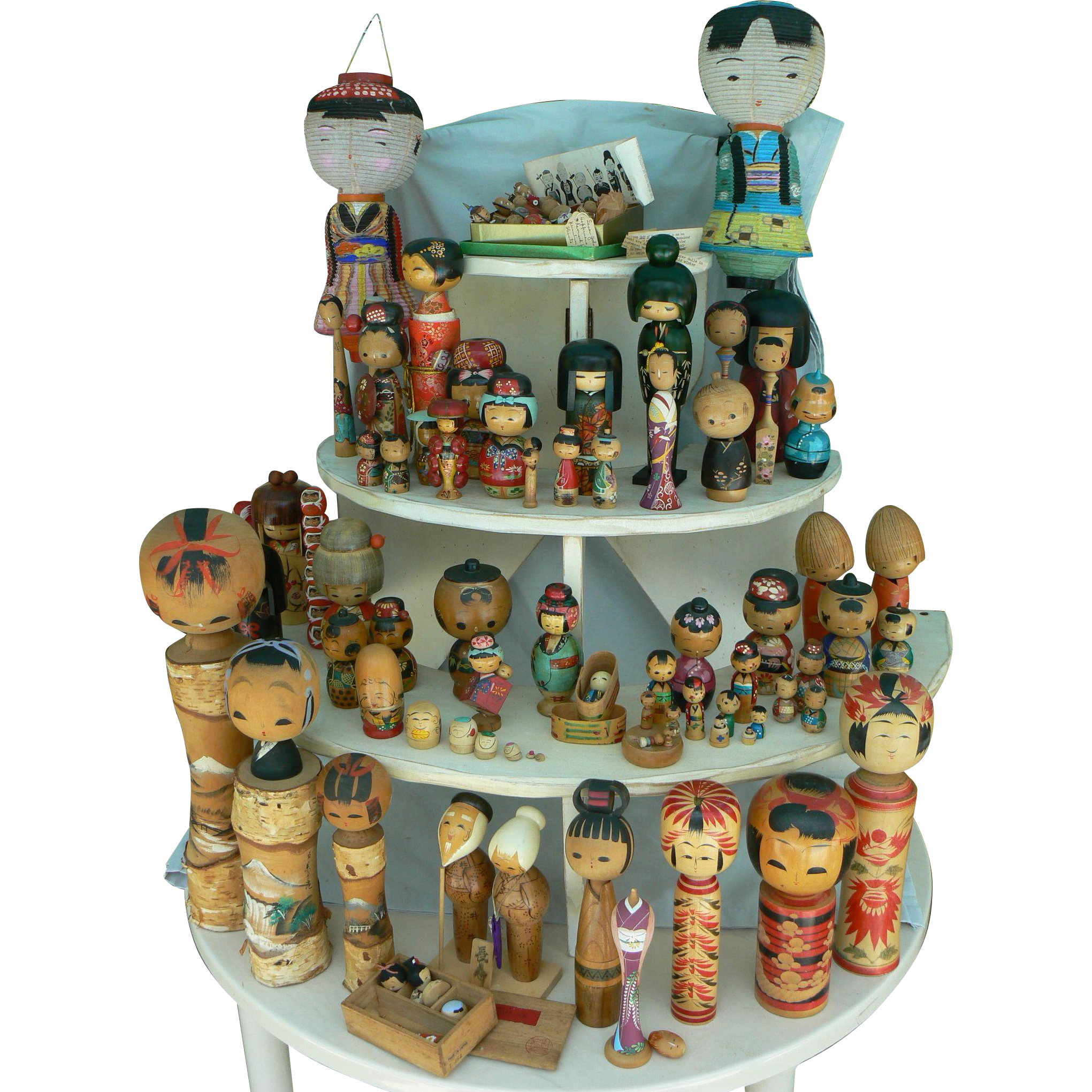 Vintage collection of over 70 Kokeshi dolls and a Lamp too Must see !!