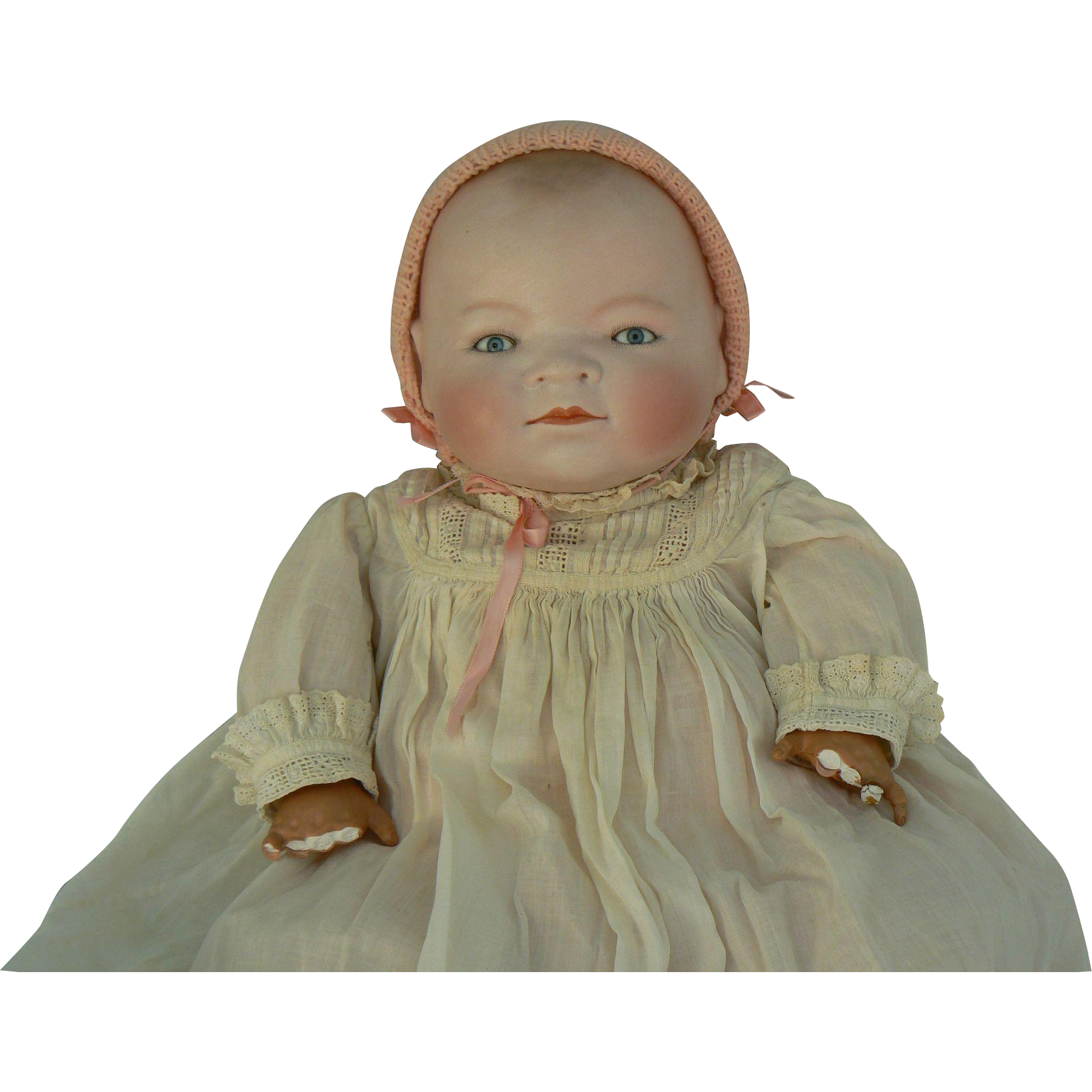 Life size Bye-Lo baby doll 17 inch head circumference and 20 inches long, dressed and cute.