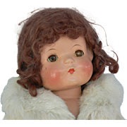 Effanbee WIGGED Patsy Ann original fur coat, shoes, socks and wrist tag Nice and sweet too.