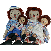 31 inch and 19 inch Georgene Raggedy Ann & Andy Black outline Nose Dolls very sweet.
