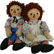 Georgene Black out line nose Raggedy Ann and Raggedy Andy dolls all original and sweet.