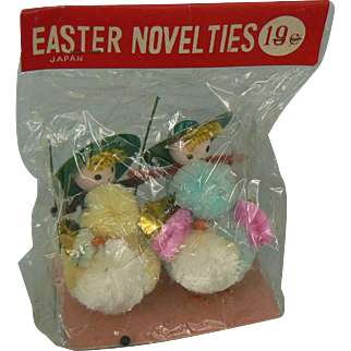Vintage Easter Chicks with a Jockey on Back IN original pack