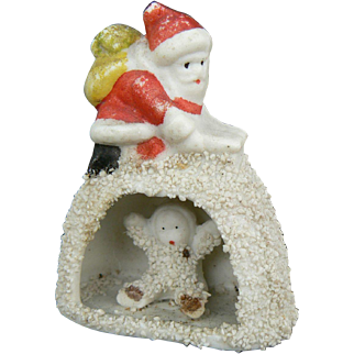 Snow Baby with Santa on Igloo Old made in Japan