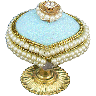 Tiny Jeweled Egg Box for a French Fashion or German Doll.