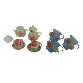 Early Blown Glass tea set and blue cups OLD.