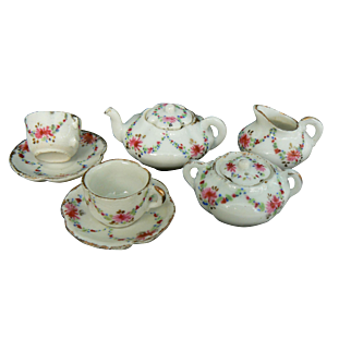 Wonderful Early Tea for two very pretty flowers and OLD tea set.