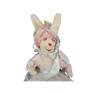 OLD vinatge Bunny Doll dressed in pink and just in time for Easter.