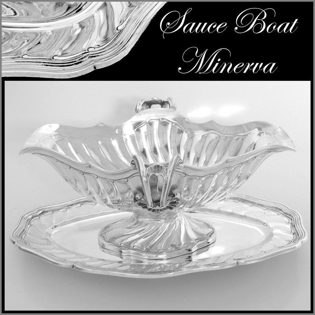 Antique French Sterling Silver Gravy/Sauce Boat with Tray Rococo