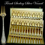 DEBAIN French Sterling Silver Vermeil Dessert/Entremet Flatware Set 36 pc w/box