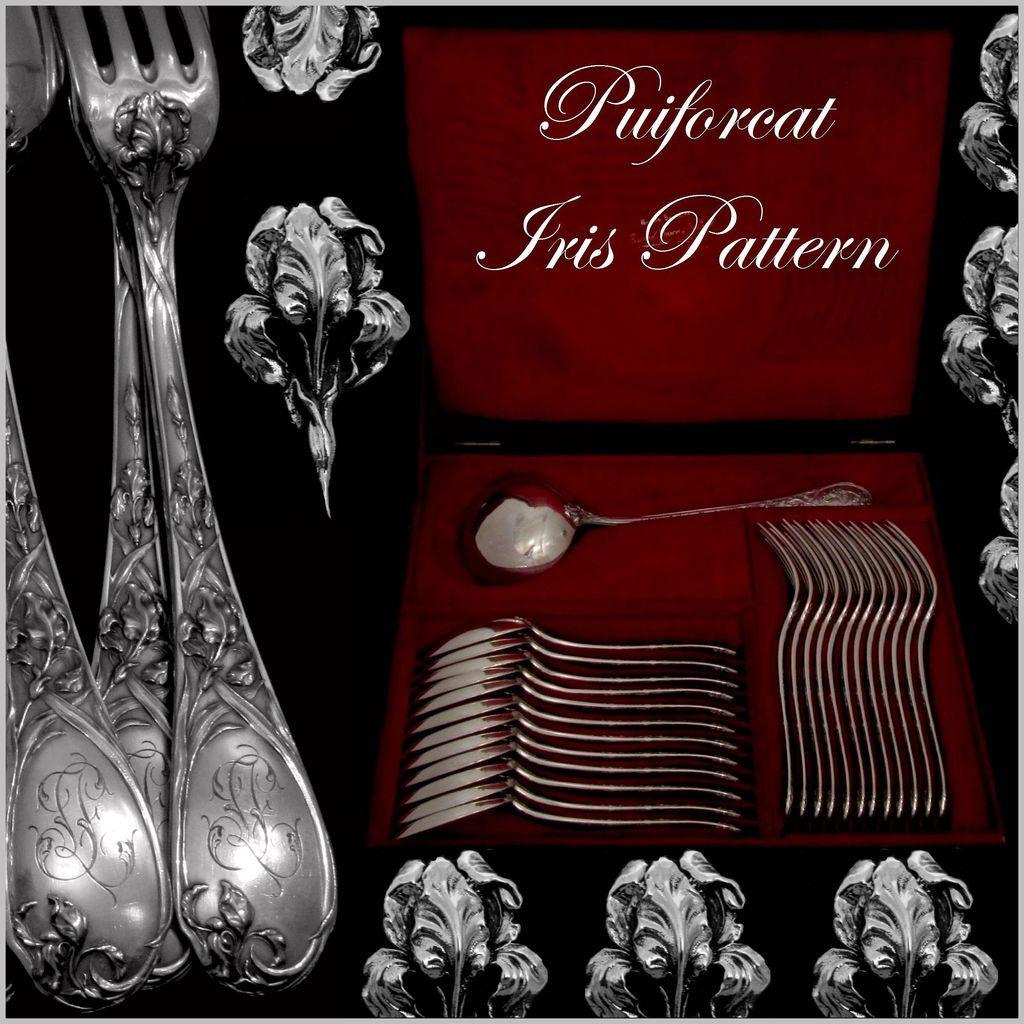 PUIFORCAT French Sterling Silver Dinner Flatware Set 25 pc Iris w/box