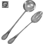 Canaux French Sterling Silver Soup Ladle and Serving Spoon Rococo
